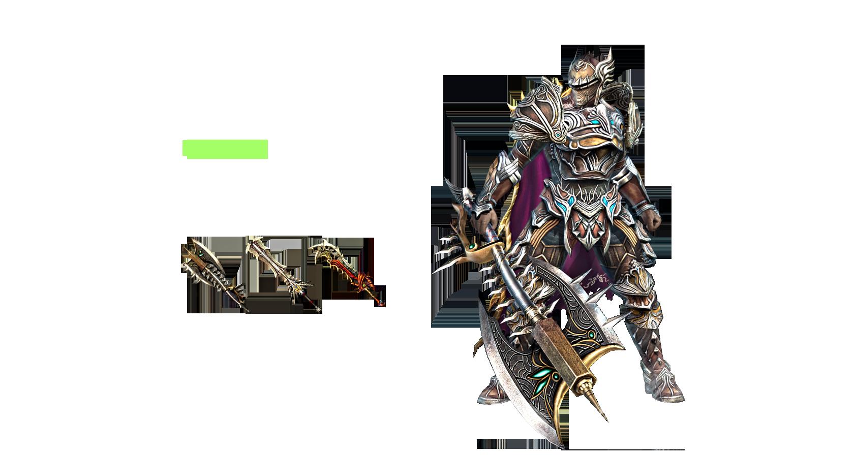 Warrior 힘으로 세상을 호령한다. 다수의 적에게 홀로 맞서는 전사는 월등한 체력과 타고난 힘을 바탕으로 적의 공격을 모두 견뎌내고 물리치면서 앞으로 전진할 뿐이다. 길이가 긴 무기를 활용해 전방에 있는 다수의 적을 동시에 공격할 수 있다.